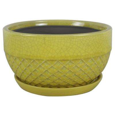8 in. Dia Yellow Acorn Ceramic Low Bowl