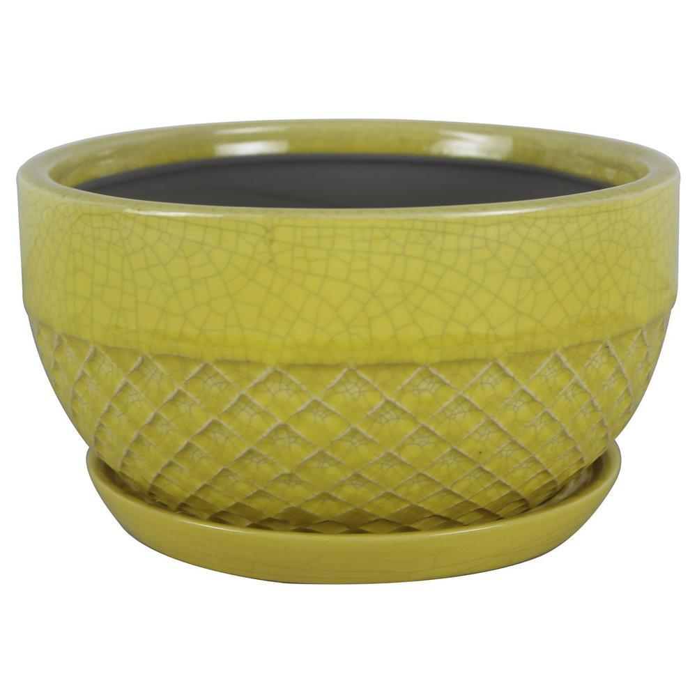 8 in. Dia Yellow Acorn Ceramic Bowl Planter