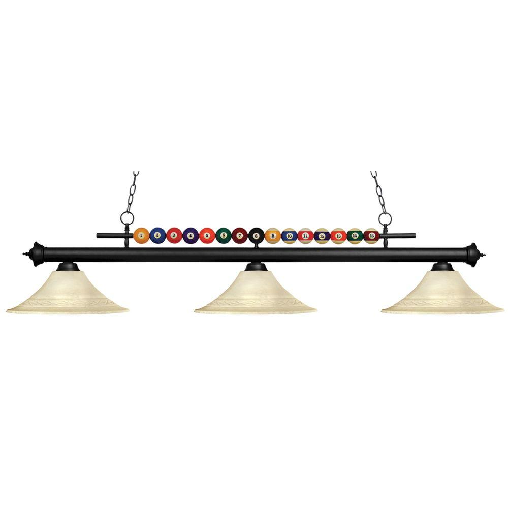 Filament Design Kerstin 3 Light Matte Black Billiard Light Cli Jb049213 The Home Depot