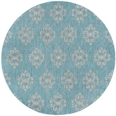 Veranda Aqua 8 ft. x 8 ft. Indoor/Outdoor Round Area Rug