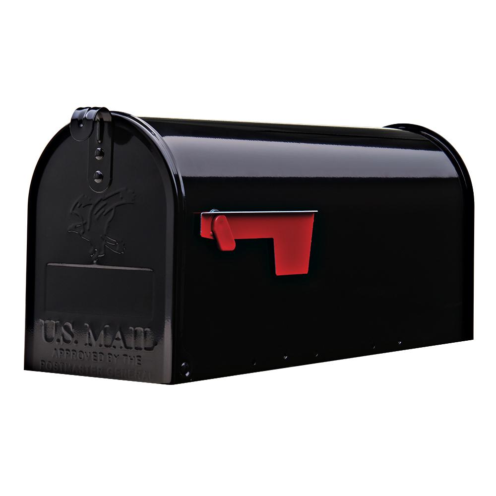 Gibraltar Mailboxes Elite Medium Galvanized Steel Post-Mount Mailbox in Black