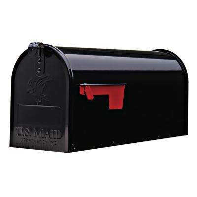 Elite Medium Galvanized Steel Post-Mount Mailbox in Black