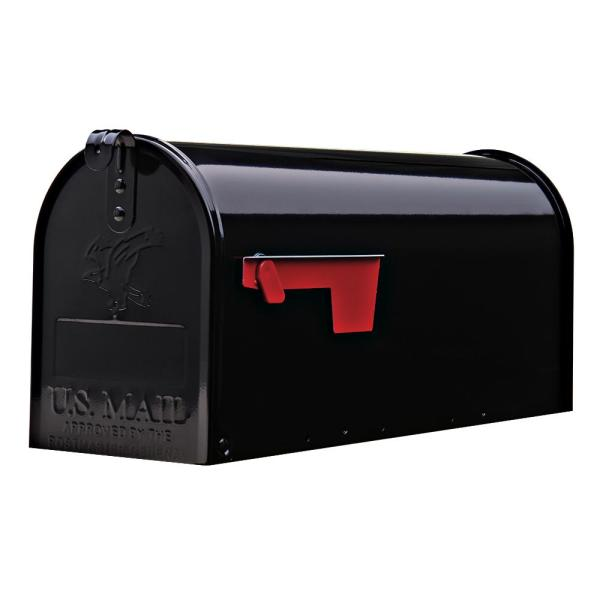 Elite Medium, Steel, Post Mount Mailbox, Black