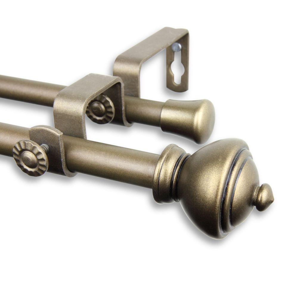 Double curtain rod hardware