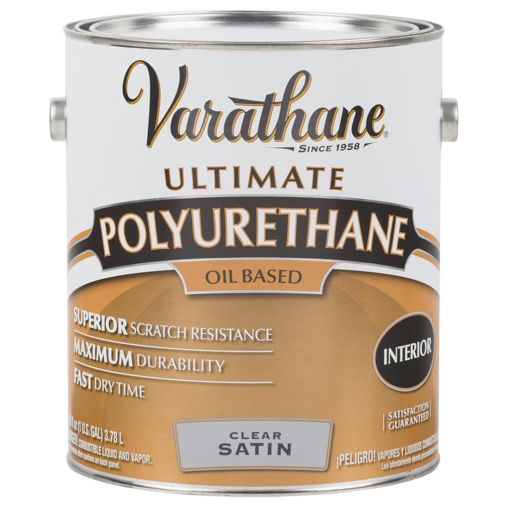 1 gal. Clear Satin Oil-Based Interior Polyurethane (2-Pack)