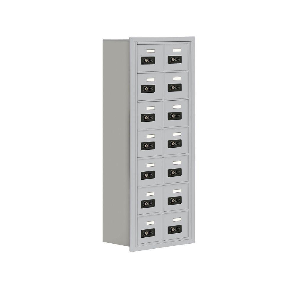 19000 Series 17.5 in. W x 42 in. H x 8.75 in. D 14 A Doors R-Mount Resettable Locks Cell Phone Locker in Aluminum