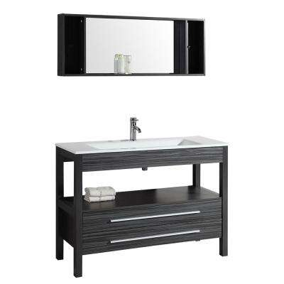 48 in. W Vanity in Charcoal Gray with Phoenix Stone Vanity Top in White with White Basin and Mirror