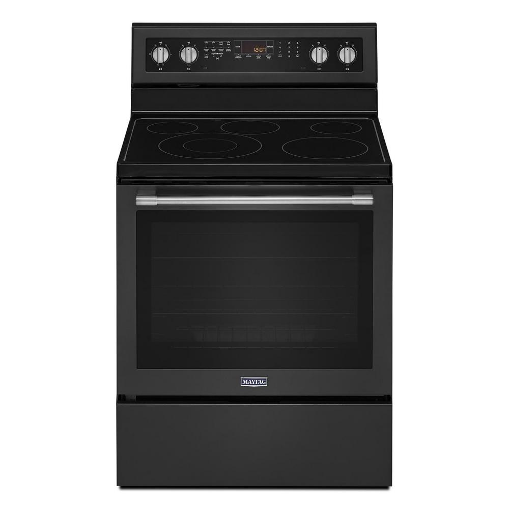 Maytag 6 4 cu  ft  Electric Range with Self-Cleaning True Convection Oven  and Power Preheat in Cast Iron Black