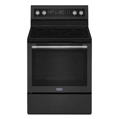 6.4 cu. ft. Electric Range with Self-Cleaning True Convection Oven and Power Preheat in Cast Iron Black