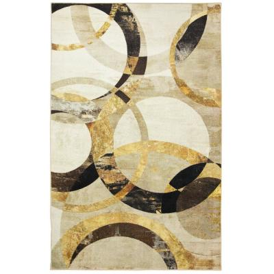 Mirrored Rings Grey 5 ft. x 8 ft. Geometric Area Rug
