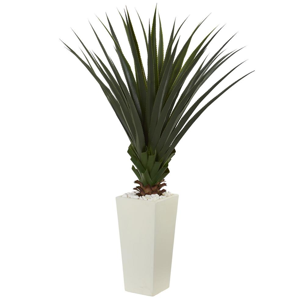 nearly natural 5 ft. spiky agave artificial plant in white tower