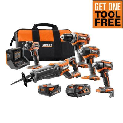 18V Lithium-Ion Brushless 4-Tool Combo Kit with (1)2.0 Battery, (1)4.0 Battery, Charger, Bag w/Free OCTANE Impact Driver