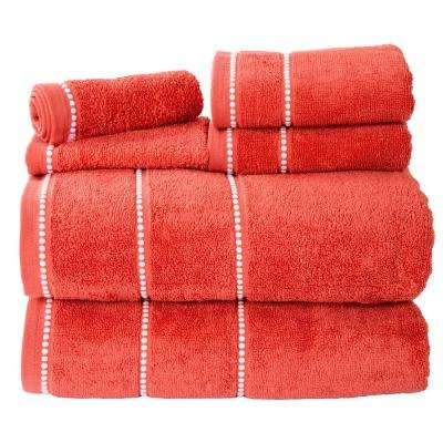 100% Cotton Zero Twist Quick Dry Towel Set in Brick (6-Piece)