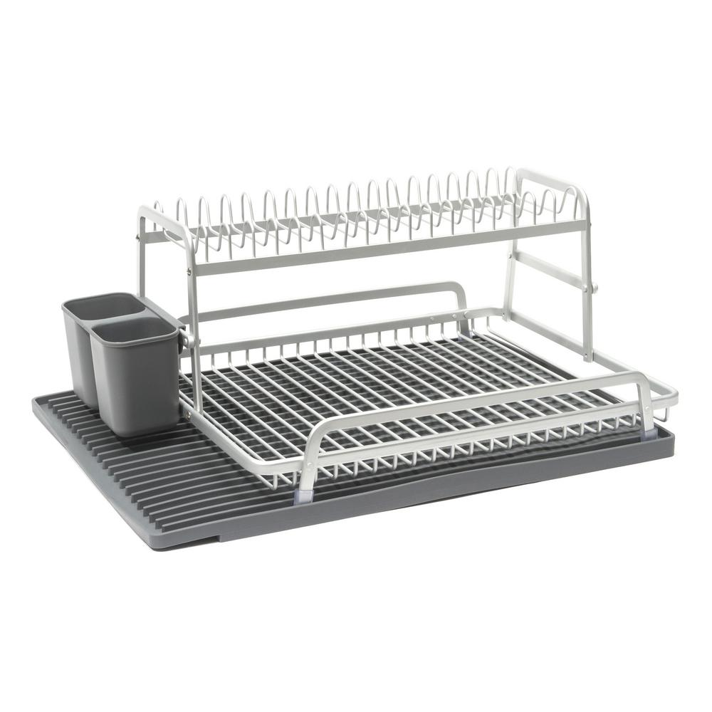 Dish Rack In Brushed Aluminum With Dark Grey Silicone Mat