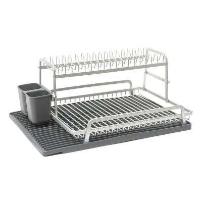 Double Level 21 in. x 14.75 in. Dish Rack in Brushed Aluminum with Dark Grey Silicone Mat