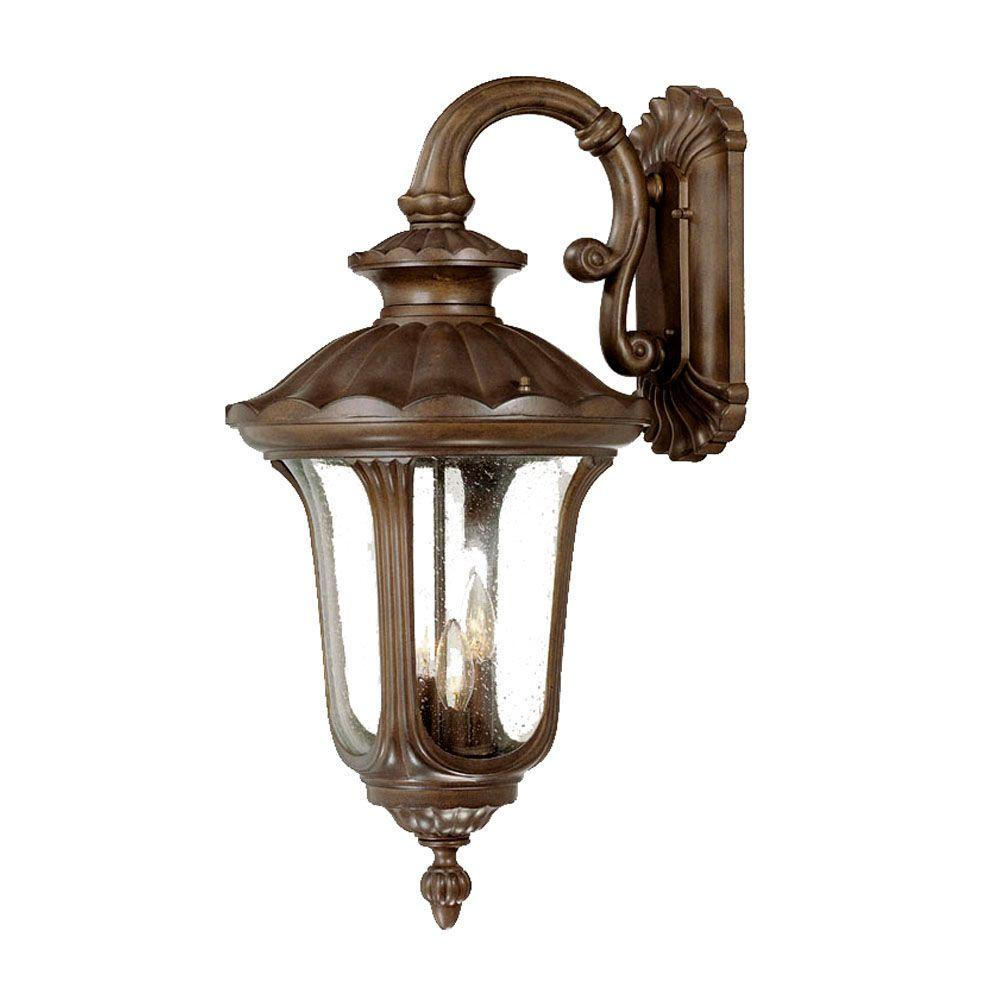 Augusta Collection 3-Light Burled Walnut Outdoor Wall-Mount Light Fixture