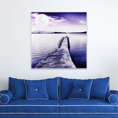 "40in.x40in.""Pier with Moon Rising"" Frameless Free Floating Tempered Glass Panel Graphic Art"