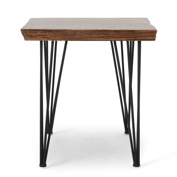 Chana Industrial Square Natural Faux Live Edge Dining Table