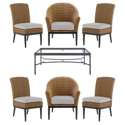 Camden 7-Piece Seagrass Light Brown Wicker Outdoor Patio Dining Set with CushionGuard Stone Gray Cushions