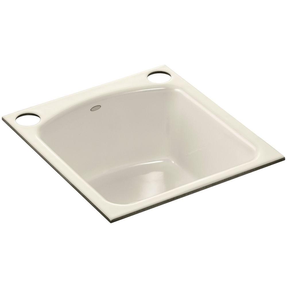 KOHLER Napa Undermount Cast-Iron 19 in. 2-Hole Single Bowl Kitchen Sink in Almond