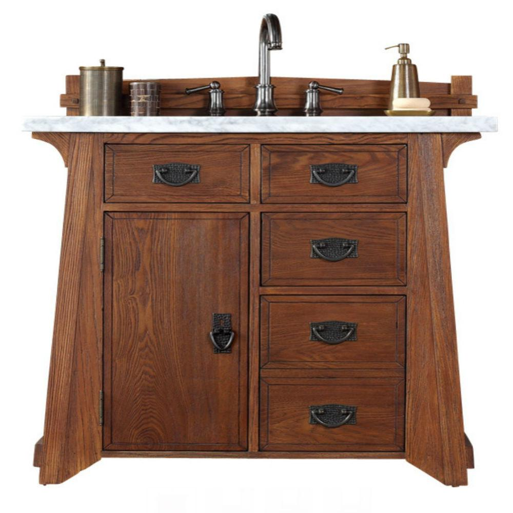 James Martin Signature Vanities Pasadena 36 in. W Single Vanity in Antique Oak with Marble Vanity Top in Carrara White with White Basin