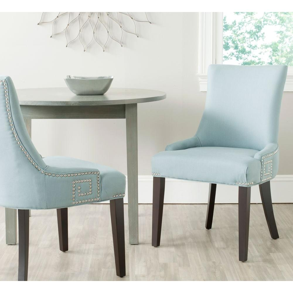 Light blue dining chairs - Safavieh Gretchen Light Blue Cotton Linen Side Chair Set Of 2