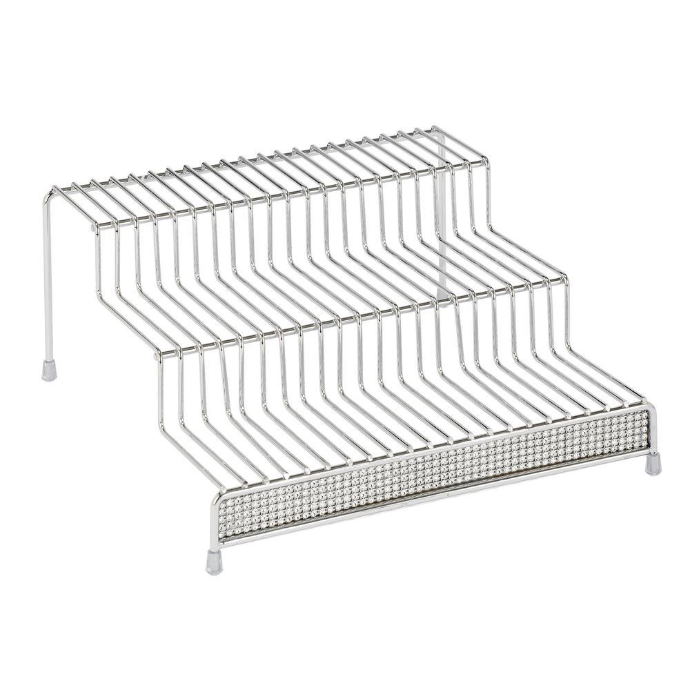 3-Tier Chrome Spice Rack Shelf Organizer in Pave Diamond Design