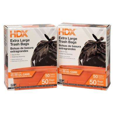 50 Gal. Black Extra Large Trash Bags (100-Count)