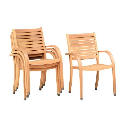 Berwick Stackable Teak Finish Outdoor Dining Chair (4-Pack)