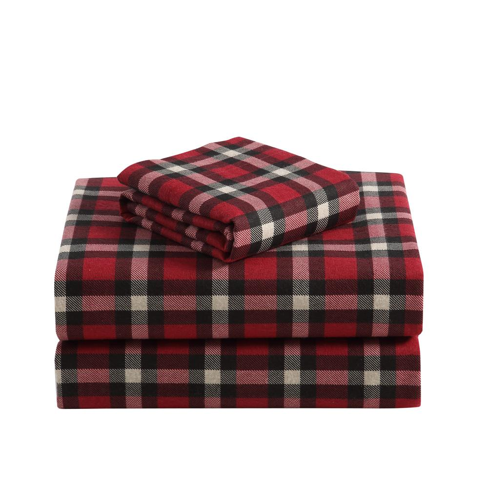 Unbranded 4 Piece Red Plaid Twin Sheet Set M597428 The Home Depot