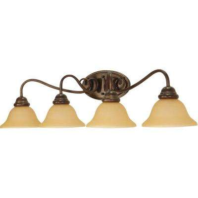4-Light Sonoma Bronze Wall Fixture with Champagne Linen Washed Glass