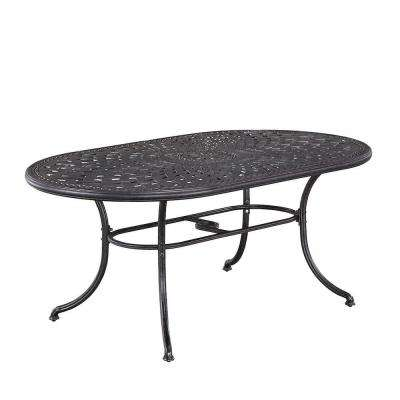 Captivating Athens Charcoal Oval Patio Dining Table