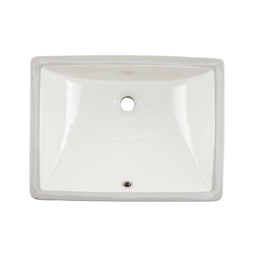 20 in. x 15 in. x 6 in. Rectangular Vitreous Ceramic Lavatory Single Bowl Undermount Bath Sink in White