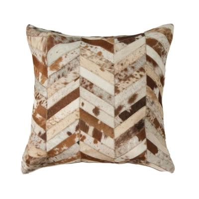 Torino Classic Large Chevron Cowhide Brown & White Animal Print 22 in. x 22 in. Throw Pillow