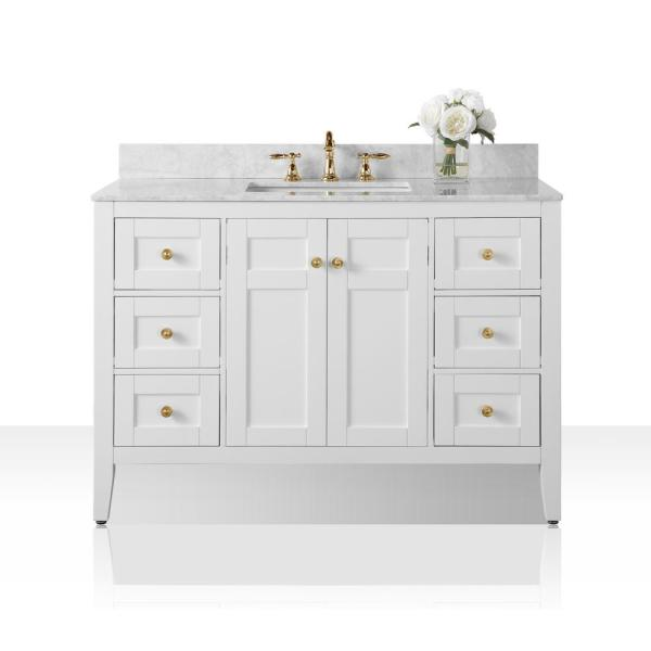 Maili 48 in. W x 22 in. D Bath Vanity in White with Marble Vanity Top in White with White Basin