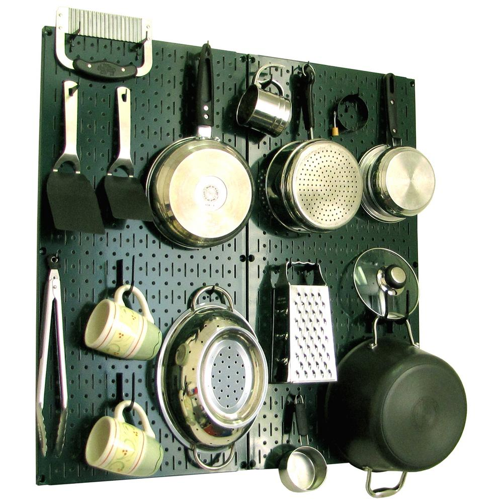Wall Control Kitchen Pegboard 32 in. x 32 in. Metal Peg Board Pantry Organizer Kitchen Pot Rack Green Pegboard and Black Peg Hooks