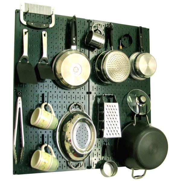 Wall Control Kitchen Pegboard 32 in. x 32 in. Metal Peg Board Pantry Organizer Kitchen Pot Rack Green Pegboard and Black Peg Hooks
