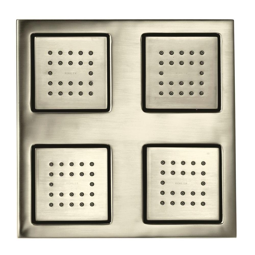 KOHLER Watertile Square Rain 22-Nozzle Overhead Showering Panel in Vibrant Brushed Nickel-DISCONTINUED