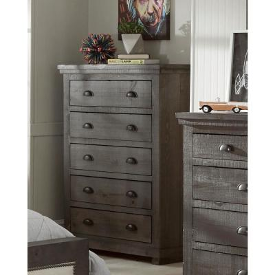 Willow 5-Drawer Distressed Dark Gray Chest of Drawers