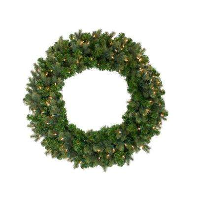 36 in. Pre-Lit Savannah Spruce Artificial Christmas Wreath with Clear Lights