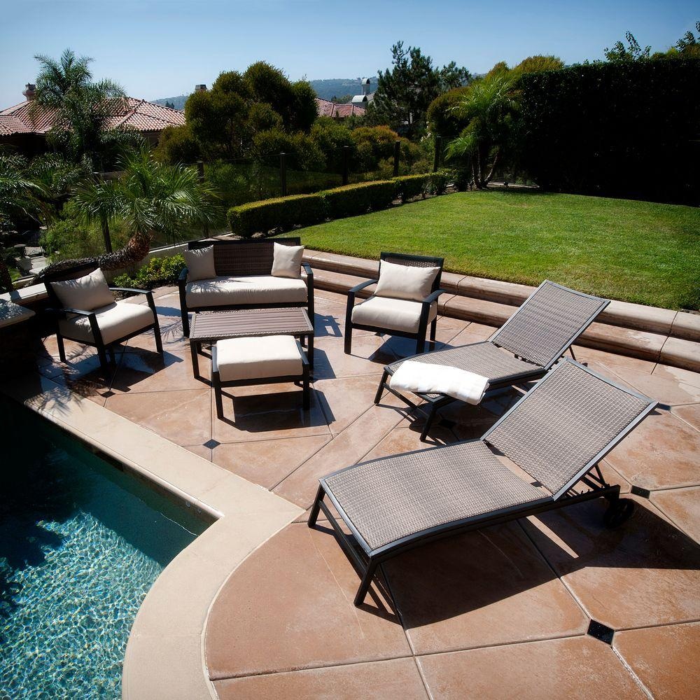 RST Brands Zen 7-Piece Patio Seating and Lounger Set with Spectrum Sand Cushions
