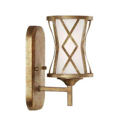 Lakewood Collection 1 Light Vintage Gold Wall Sconce With Etched White Glass