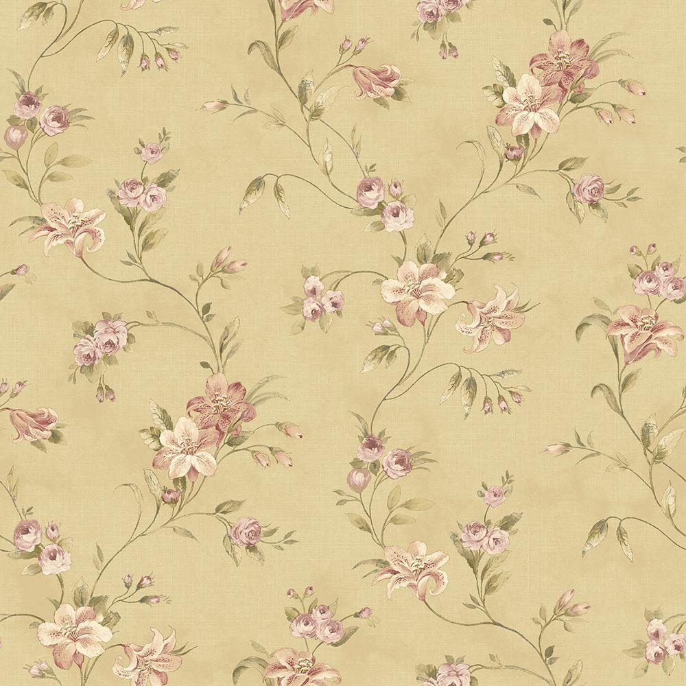 Chesapeake Lorraine Lily Gold Floral Wallpaper