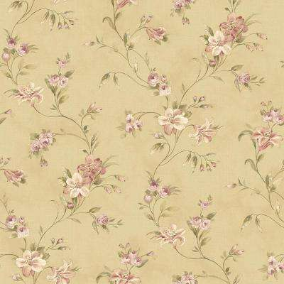 Lorraine Lily Gold Floral Wallpaper