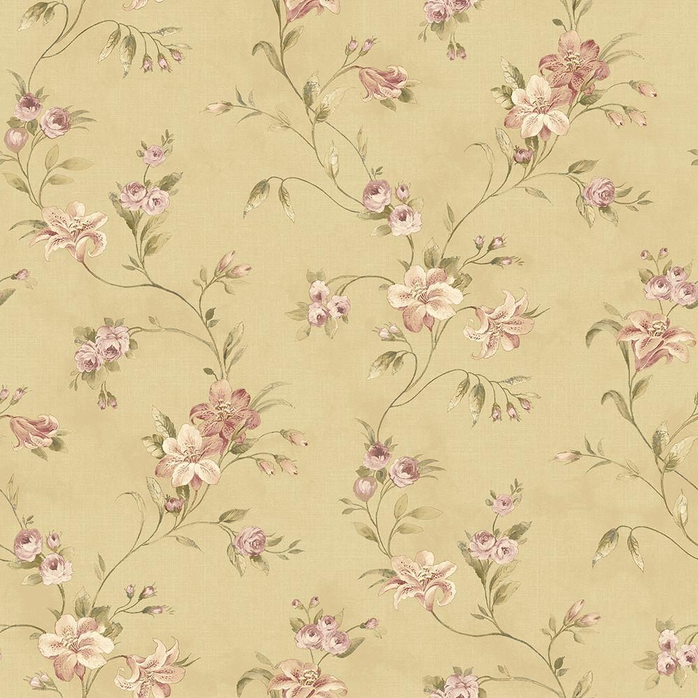 Chesapeake Lorraine Lily Gold Floral Wallpaper Sample Ccb02133sam