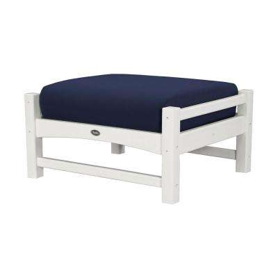 Rockport Club Classic White Plastic Patio Ottoman with Sunbrella Navy Cushion