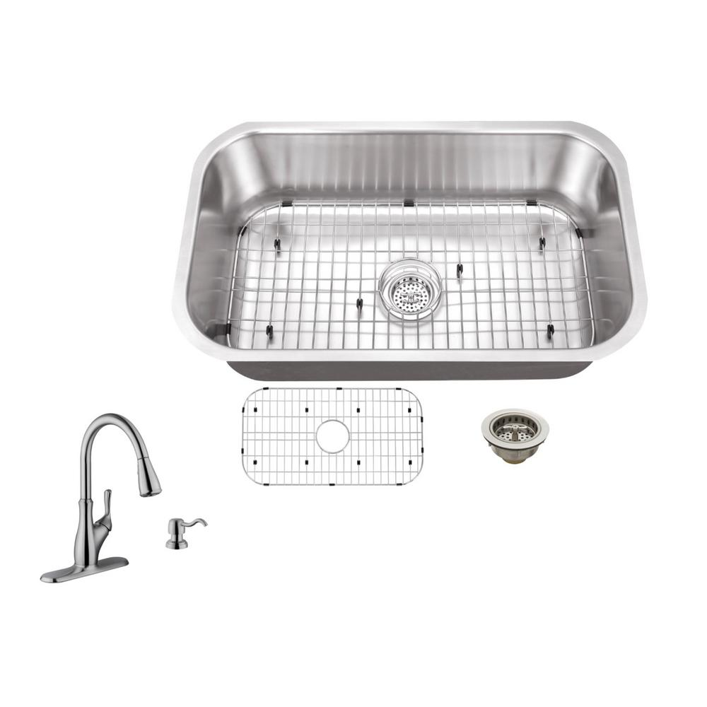 Medium image of ipt sink company undermount 30 in  16 gauge stainless steel kitchen sink in brushed