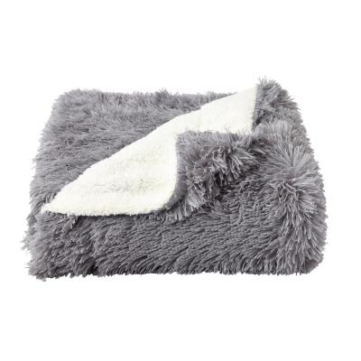 Oversized Long Pile Pewter Grey Faux Fur Hypoallergenic Throw Blanket
