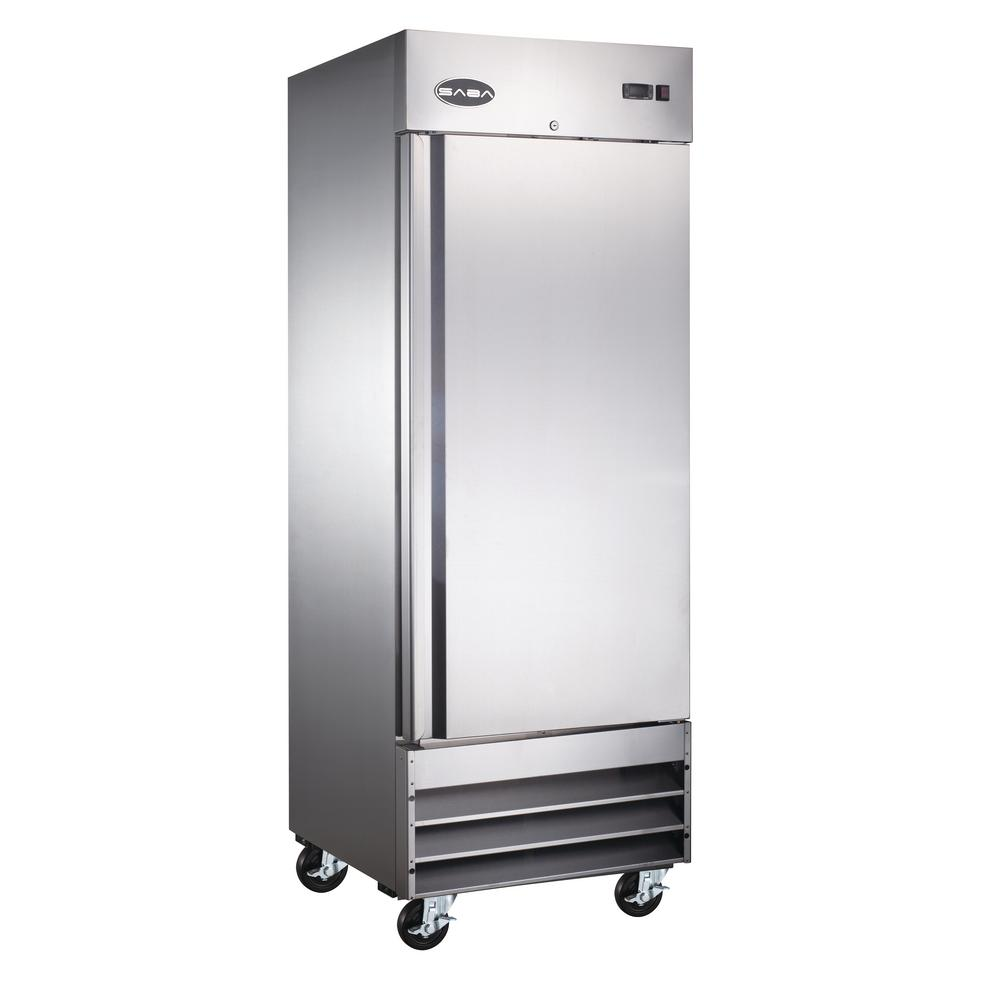 SABA 29 in. W 23 cu. ft. One Door Commercial Reach In Upright Refrigerator in Stainless Steel