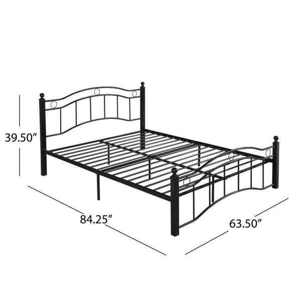 Noble House Bouvardia Contemporary Modern Queen Size Flat Black Iron Bed Frame 54313 The Home Depot